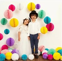 Wholesale Honeycomb Party 5cm - Free Shipping 5cm Lot of 50 Tissue Paper Honeycomb Balls Hanging Balls Paper Ball Honeycomb Paper Decorations Party Supplies