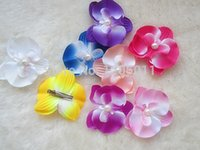 orchid clips wholesale NZ - Mini Butterfly Orchid Pearl Headdress Flower with Clip Women Corsage ,Fashion Hair Clips Children Hair Accessories 50  Lot Free Shipping