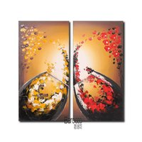 Wholesale canvas paintings wine glasses - 2 Pieces Hand Painted Still Life Abstract Oil Painting Flower Petals Wine Glass Modern Home Wall Decoration