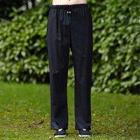 kung fu calça algodão venda por atacado-Frete Grátis 65% Algodão 45% de Linho Artes Marciais calças Estilo Chinês Roupas Calças Compridas Kung Fu calças kung fu Traje taiji calças 4 cor