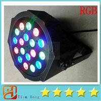 Wholesale Dmx 512 Rgb Led Controller - DHL Free shipping Big Led stage light 18x3W 54W 85-265V High Power RGB Par Lighting With DMX 512 Master Slave Led Flat DJ Auto-Controller