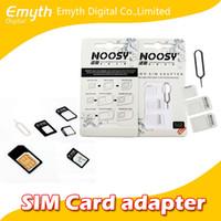 nano tray 4s großhandel-Nano-SIM-Karte zu Mikro-SIM-Karte Standard-Adapter-Konverter-Auswurfstift-Satz 4 in 1 für iPhone 4 4S Galaxy S4 S5 mit Kleinverpackung
