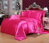 juego de edredón de cama queen verde al por mayor-Conjunto de ropa de cama de color sólido personalizado Verde 50% Satén de seda Ropa de cama King Size Juegos de edredón Queen Full Twin Size Fitted Bed Bed 240108