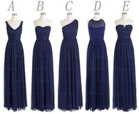 Wholesale Dress Style One Color - Custom Made 5 Styles Long Bridesmaid Dresses A Line Back Zipper Floor Length Navy Blue Chiffon Ruched Cheap Prom Evening Party Dress