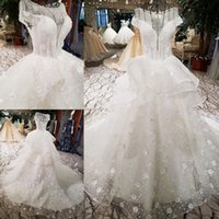 LS2266 luxury wedding dresses cap sleeve o-neck lace up backless flowers ball  gown beading wedding dresses from china real photo 0c722a98aabc