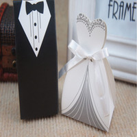 Wholesale Black White Favor Boxes - 2015 cheap Wedding favor Boxes Groom &Bride Papery 100pecs  Lot Special Wedding Party Favors For Wedding Gust Gifts