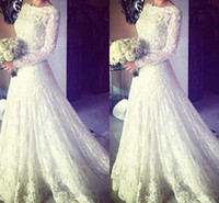Wholesale long sleeve beach wedding dresses - 2016 Muslim Wedding Dresses Cheap Sexy A Line Crew Long Sleeve Applique Pleats Sweep Train with Sash White Lace Formal Bridal Gowns