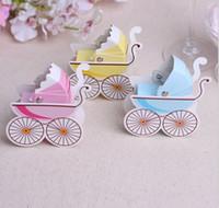 cajas amarillas del favor de la boda al por mayor-1000 unids elige un color rosa / amarillo azul cochecito de boda caja de dulces fiesta de boda cochecito de bebé favorece la caja de regalo de papel