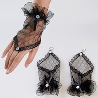 Wholesale Wedding Gloves For Men - Wholesale-white black red color 2015 New Arrival Bride Wedding Party Gloves Fingerless Sexy Lace Short Bow Gloves for Women Free Shipping