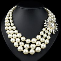 Wholesale Big Chunky Fashion Jewelry - New Fashion Big Luxury Crystal Flower Necklaces &Pendants Pearl Tassel Chunky Choker Statement Necklace Women Jewelry