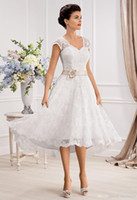 Wholesale tea length portrait dress for sale - Group buy Lovely Capped Portrait Wedding Dresses A Line Lace Hand Made Flower and Beads Sheer Back Sleeveless Covered Button Tea Length Bridal Gowns