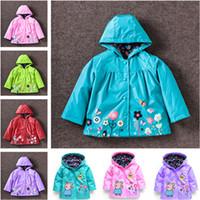 Wholesale Rainproof Clothing - Children girls baby clothing spring autumn winter kids jackets children windproof rainproof outerwear baby boys kids flowers coat A-0227