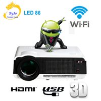LED86 wifi led projector Android 4.4.2 HD LED 3D Smart Projector 5500 люмен 1080p HDMI Video Multi screen Home Cinema