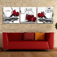 Wholesale Coffe Sets - 3 Piece Home Decorative Wall Rose Coffe Kitchen Hone Modern Wall Painting Art Picture Paint on Canvas Prints Picture Set