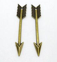 Wholesale antique bronze findings resale online - x63mm Metal Alloy Antique Bronze Arrow Charms Pendant connection Jewelry Base settings Accessory Finding