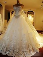 Wholesale Gorgeous Sweetheart Bling - Gorgeous Rhinestone In stock Bling Bling Wedding Dresses Sweetheart backless beaded bridal gown Royal train vestidos de noiva