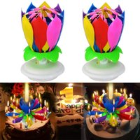 Wholesale Amazing Candles - 2pcs  Set Fashion Amazing Romantic Musical Lotus Rotating Happy Birthday Wedding Candle Magical Sparklers For Party Gift