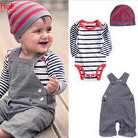 Wholesale Toddler Boy Denim Overalls - 2015 Kids Overall Clothes Newborn Striped Romper Baby Denim Suspenders Pants Jumpsuits Toddler Jeans Infant Boys Girls Denim Pants SV006645