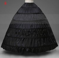 Wholesale beautiful weave - Black Ball Gown Dress Bridal Petticoats 6-Hoop Beautiful wedding bridal accessories Quinceanera dress petticoats cheap price HY