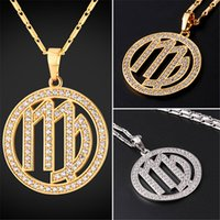 Wholesale Virgo Zodiac - U7 New Zodiac Charms VIRGO Pendant Necklace Simple Women Men Jewelry Gift Rhinestone Gold Platinum Plated Necklace Perfect Gifts P2508