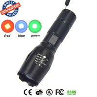 Wholesale Torch Light 3w Cree - G700 E17   A100 CREE Q5 3W LED Red Green Blue Light 18650 Flashlight Torch Lamp LED Hunting Flashlight Torch