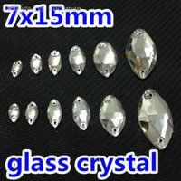 Wholesale Rhinestones Marquise Flatback - Wholesale-100pcs 7x15mm Navette Sew-on Rhinestones Flatback 2holes Crystal Clear White Color Marquise Sewing Crystal