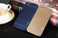 estuche rígido de cromo al por mayor-Motomo cepillo duro cepillado Wiredrawing metal cromo caja de la armadura delgada híbrida para iphone 6 4.7 5.5 pulgadas 4 4s 5 5S S4 S5 cubierta de piel caso de la aleación