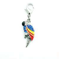 Wholesale Parrot Accessories - 2015 Brand New Fashion Floating Charm Alloy Lobster Clasp Rhinestone Parrot Animal Charms Pendants Jewelry Accessories