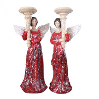 Wholesale Vivid Paintings - Painted Vivid Red Dress Candlestick Christmas Angel Ornaments Home Decor