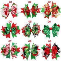 Wholesale Hair Pins Brown - Fashion Christmas Gift Ribbon Bows Clip Snow Hair Clips Hair Pin Accessories Swallowtail Bowknot Christmas Hairpin