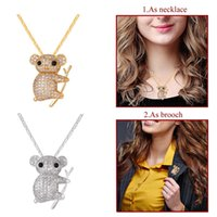 Wholesale Cute Koala - U7 New Trendy Cute Koala Pendant Necklace Brooch Charms Gold Platinum Plated Austrian Rhinestone Necklace Pendant Jewelry For Women P2500