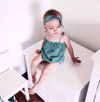 Wholesale Del Boy - Wholesale-2015 HOT Bobo Chose Summer Style Baby Girl Bodysuits With Headband Baby Girl Jumpsuit Green Pink falda del bebe
