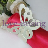 Wholesale Green Napkin Rings - Hot Sale-100pcs Light Green Paper Butterfly Napkin Rings Wedding Bridal Shower Napkin holder-Sample Order