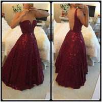 Wholesale Wine Pearls - 2015 Prom Dresses Gorgeous Wine Red Lace Evening Dress V Neck Sleeveless Floor Length Vestidos Sequined Backless Vestido