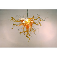 Longree 110v-240v Lâmpadas LED Chihuly Estilo Chandeliers Qualidade Superior Orange Hotel Lobby Blown Glass Pipes Decoration