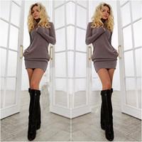 roupa de inverno escritório feminino venda por atacado-Atacado-2015 ano novo mulheres vestido quente roupas de inverno para as mulheres se vestem roupas femininas sexy escritório vestido
