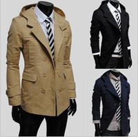 Wholesale Hot Men Trench Coats Slim - Free shipping 2014 HOT Fashion Men's Slim Stylish Trench Coat Winter Long Jacket Double Breasted Overcoat Mens Outerwear