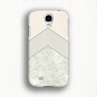 Wholesale Covers For Galaxy S4 Wood - Cell phone case Mint triangle phone cover Wood geometrc on marble 3d case for galaxy s4