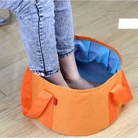 Portable oxford cloth travel washbasin Outdoor Folding Basin Bucket Bowl Sink Washing Bag Balde de água a prova de fugas 15L
