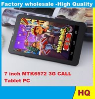 Wholesale Cheap Hd Cameras - 7 Inch 3G Phablet HD 1024x600 GSM WCDMA MTK6572 Dual Core Dual SIM Dual Cameras GPS Android 4.4 Phone Calling Tablet 1pcs CHeap