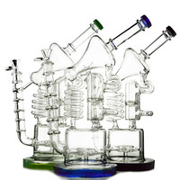 Wholesale Cool Mouth - COOL Microscope Glass Bong With Double Recycler Spiral Perc Long Duct Dab Rig Cylindrical Base Water Pipe Colored Mouth Bongs WP558