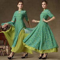 Wholesale Muslim Dresses Females - Dubai kaftan false twinset muslim women long dress Fashion elegant abaya islamic female printing long dress musulmane musulmane vestidos