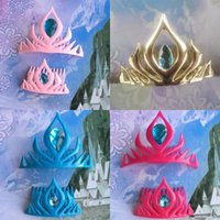 Wholesale plastic hair barrettes for children online - New colors baby hair accessories Princess Coronation crown cartoon Snow Queen crown headbands for children Christmas gift EMS C237