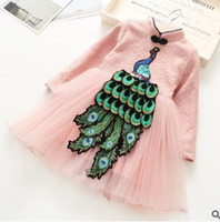 Wholesale Peacock Sequin Dress - Children princess dresses national style Girls floral lace stereo peacock dress Kids sequins splicing Gauze dress Girls pink dress C2418