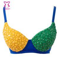 xl lenceria amarilla al por mayor-Sexy Amarillo / Verde Brasil Mujer Ropa Interior Lencería Resina Abalorios Push Up Bra Dance Punk Bralette Bras Lady Brassiere