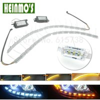 2Pcs Car Styling Light Source Carro LED Daytime Running Lights Chips DRL Turn Signal Indicator Light White Amber