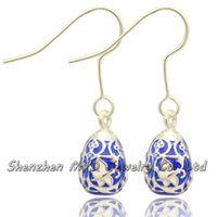 Wholesale Butterfly Eggs - Woman fashion jewelry lovely butterfly animal Russian Faberge egg drop earrings hand enameled Christmas holidays gifts