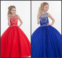 Wholesale Hand Accessories For Girls - Modest Luxury Beading Girl Pageant Dresses Spring New Flower Girls Dresses For Wedding Party Cloths Kids Formal Wear & Accessories