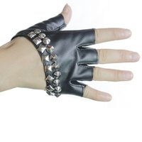 Wholesale Ladies Leather Half Gloves - Wholesale-Jazz Dance Performing Women Leather Gloves, Fashion Women's Ladies Half Finger Gloves Red Black White Gold Color