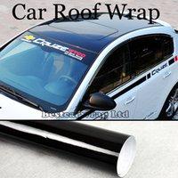 ingrosso adesivo avvolgente nero lucido-Roof Wrap 3 Strati Ultra lucido Vinile Air Bubble Free High Gloss Nero Car Wrap Film Adesivo lucido Dimensioni 1.35x15m / Roll